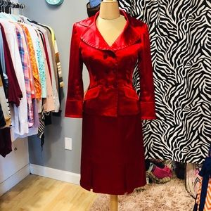 Nine West Size 2 Red Silk Suit with Skirt